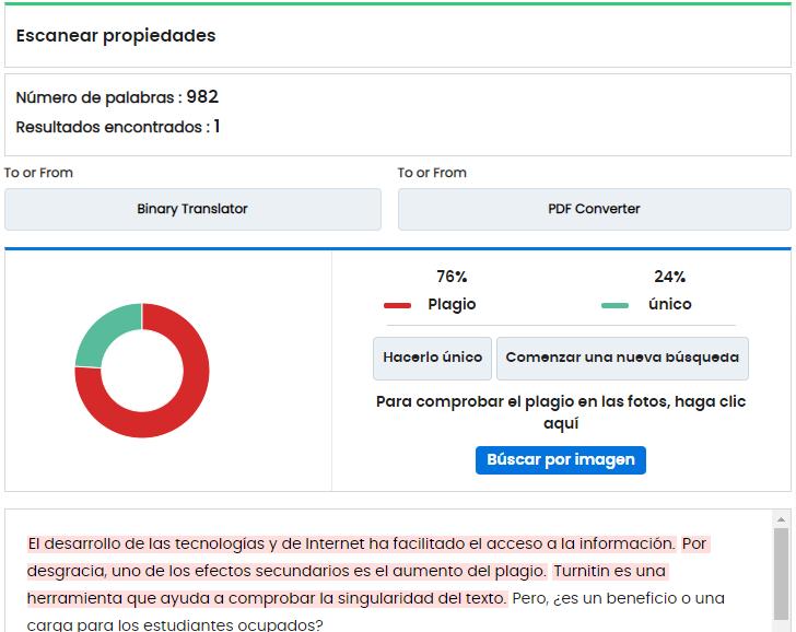 Duplichecker resultados informe plagio TFG